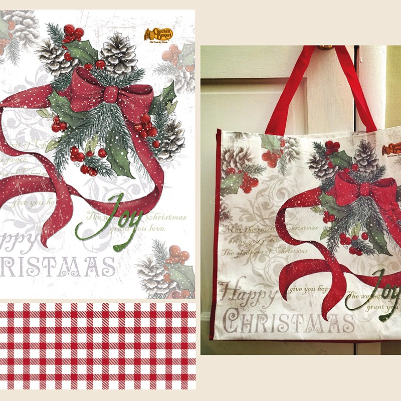 Christmas Holly Tote Bag for national U.S. store distribution