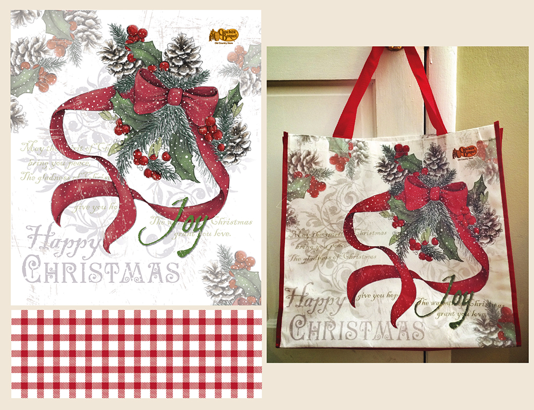 Christmas Holly Tote Bag for Cracker Barrel
