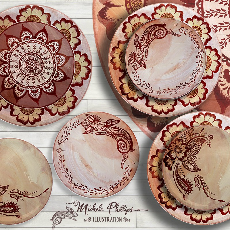 Henna Marsala Dishware Home Decor