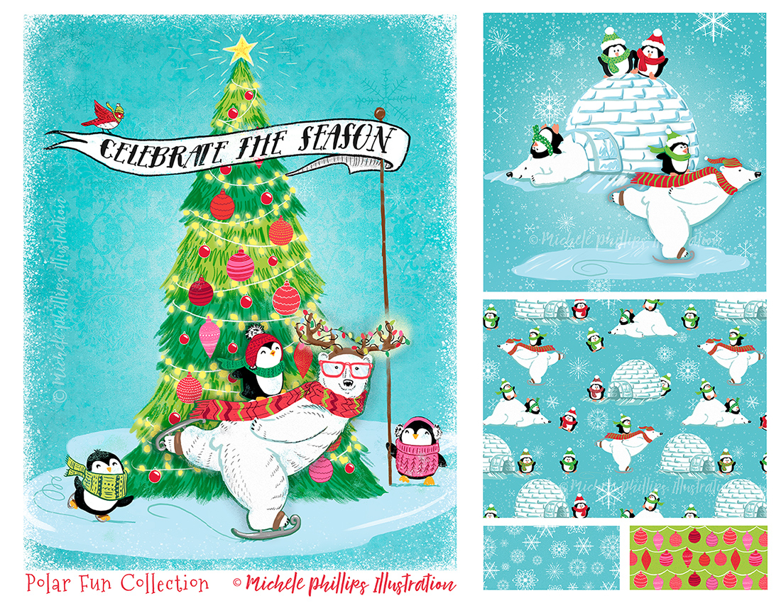 Polar Fun Holiday Illustration Set