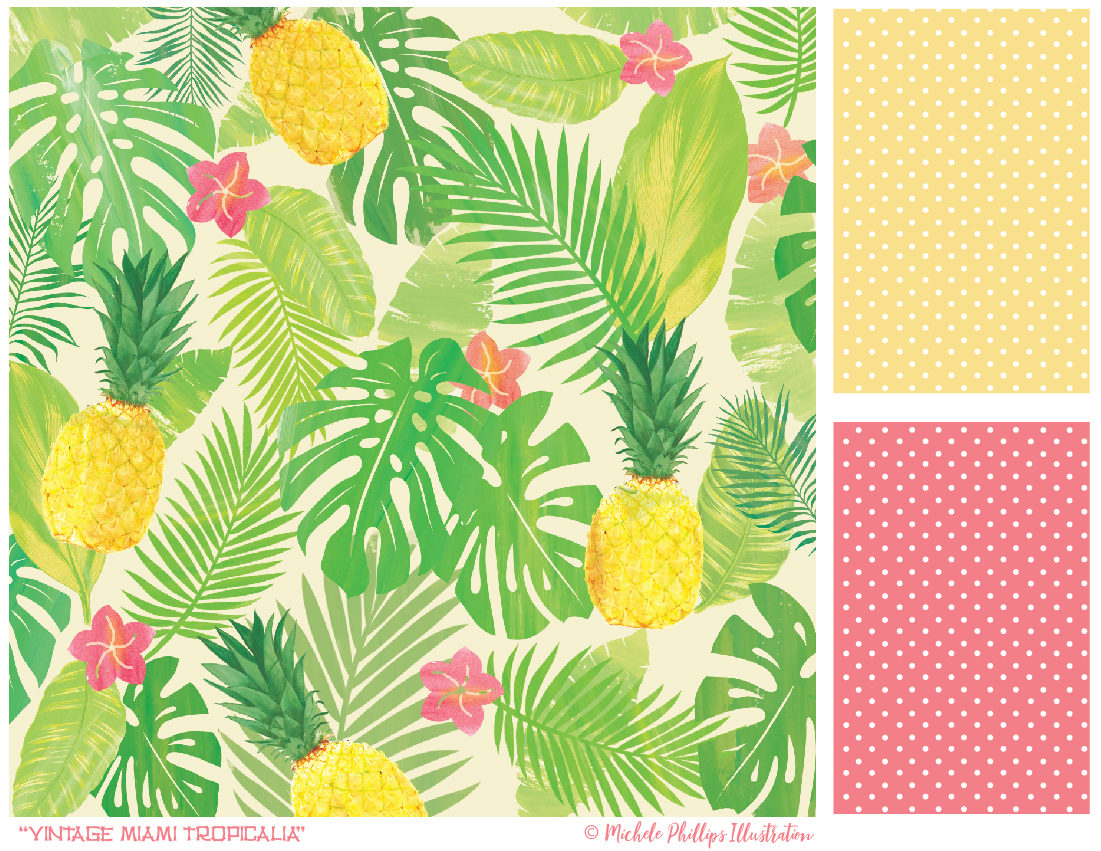 Vintage Miami Tropicalia pattern set