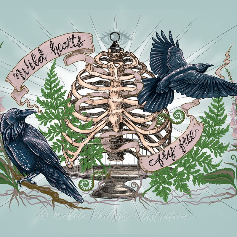 Wild Hearts Fly Free Illustration by Michele Phillips