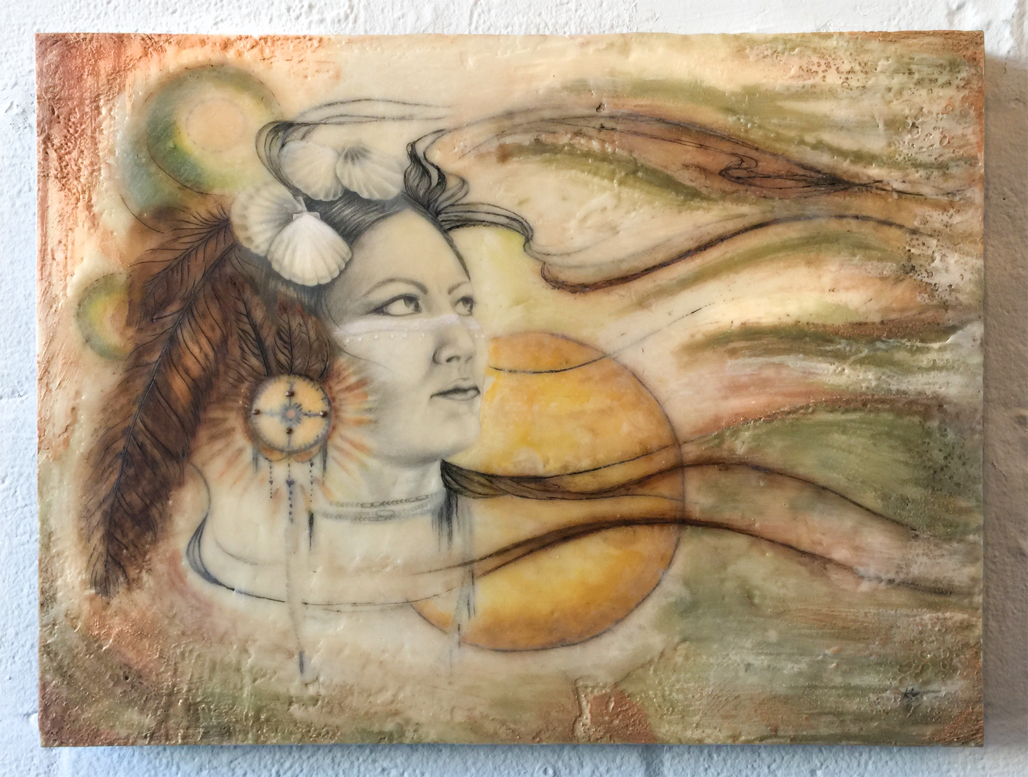 Chickasaw Panther Woman Encaustic Painting M Phillips