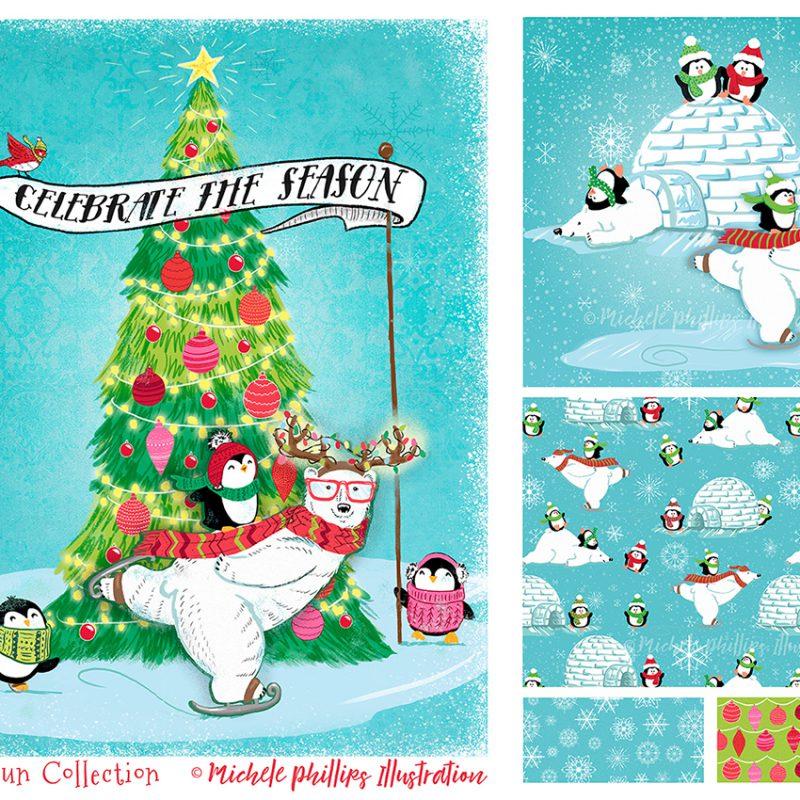 Polar Fun Holiday Illustration Set