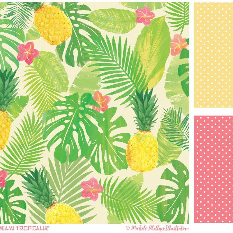 Vintage Miami Tropicalia pattern set